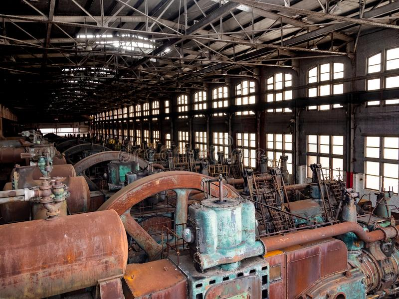 Stålfabriken i Betlehem PA, som den rostar, och missfärgar med ag arkivbild