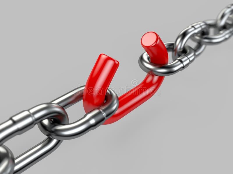 Stålkedjan med rött brooken sammanlänkning stock illustrationer