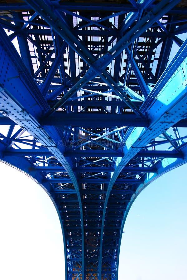 Stålkonstruktion av järnvägsbron royaltyfri fotografi