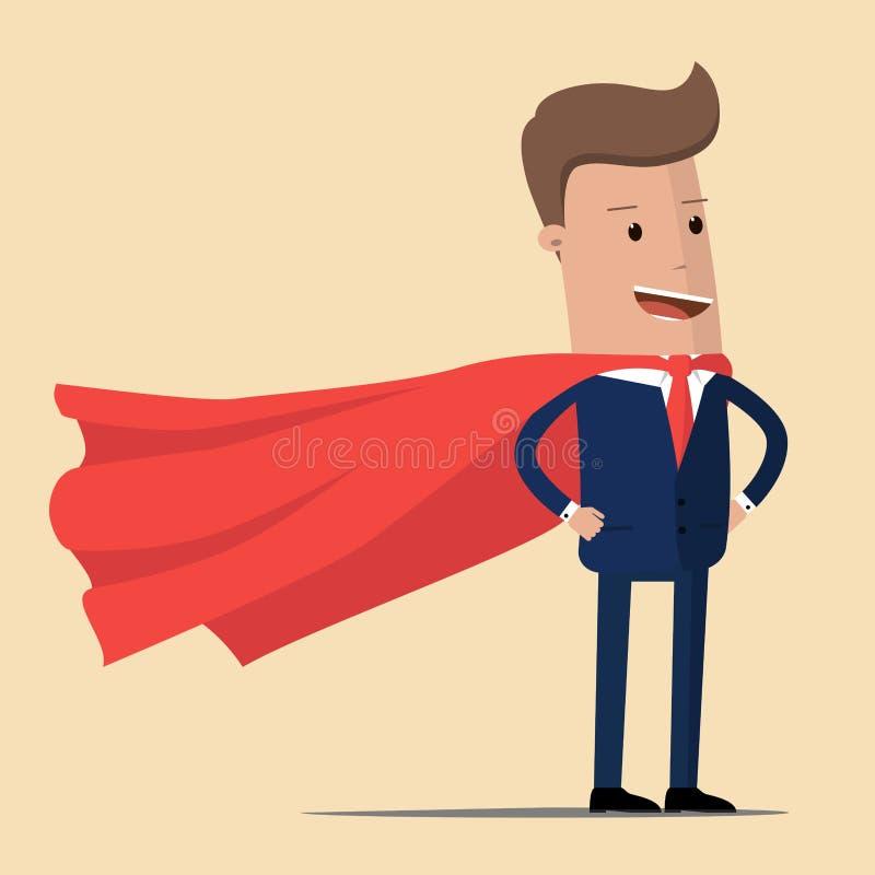 Stålmanaffär en man i en affärsdräkt med en röd udde Begrepp av en toppen affärsman också vektor för coreldrawillustration royaltyfri illustrationer