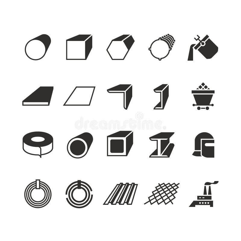 Stålröret och rulle stålsätter symboler för vektor för metallprodukt royaltyfri illustrationer