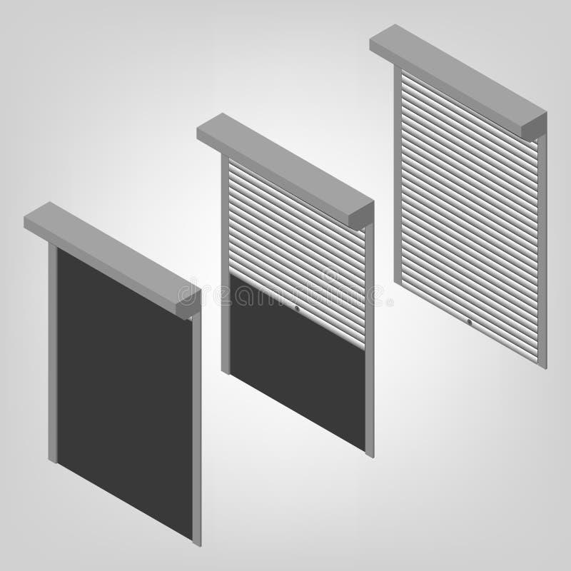 Stålsäkerhet stänger med fönsterluckor isometriskt, vektorillustration royaltyfri illustrationer