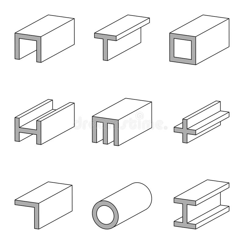 Stålsätta cectionssymbolen, profiler, plattor och rör, ställ in vektorlinjen symbolsstålrör och stråla produkten för arbete för k stock illustrationer