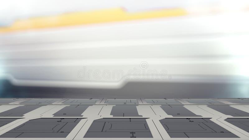 Ståltabellen på ett rymdskepp, science fictionbakgrund - använt för skärm eller montage kan dina produkter 3d för att framföra royaltyfri illustrationer