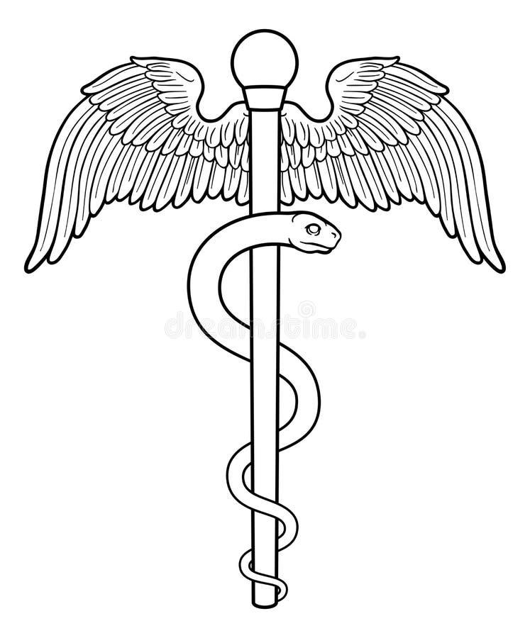 Stång av Asclepius Aesculapius Medical Symbol stock illustrationer