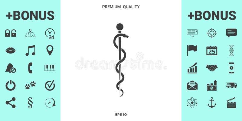Stång av Asclepius Snake Coiled Up Silhouette royaltyfri fotografi