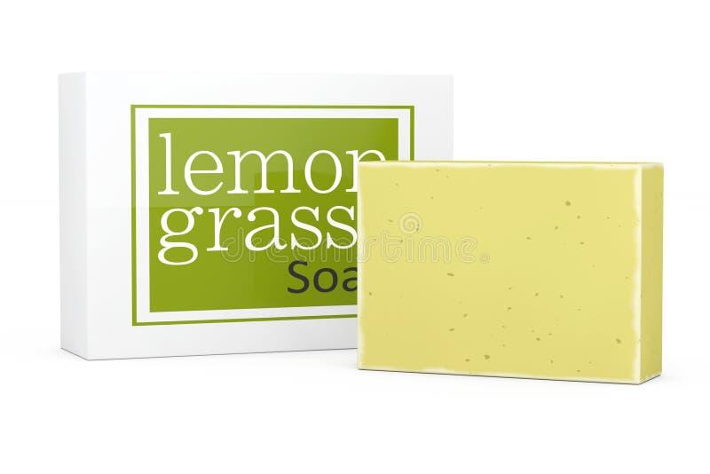 Stång av Lemongrasstvål med soapboxen framförande 3d vektor illustrationer