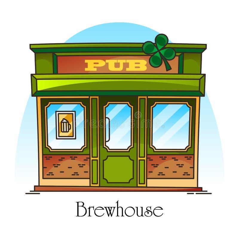 Stång- eller barfasad i tunn linje Bryggeri brewhouse stock illustrationer