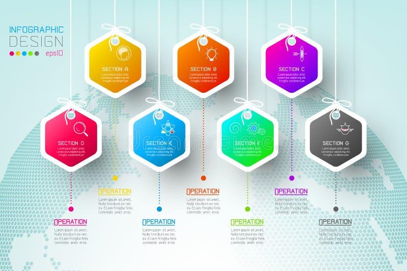 Stång för grupper för form för affärssexhörningsetiketter infographic royaltyfri illustrationer