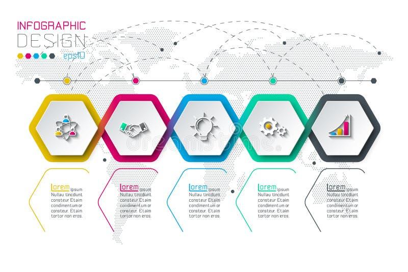 Stång för grupper för form för affärssexhörningsetiketter infographic vektor illustrationer