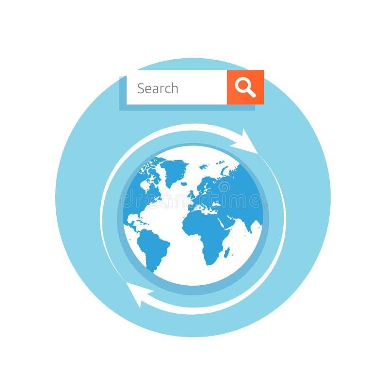 Stång för sökandebegreppsadress med jordklotsymbolen stock illustrationer