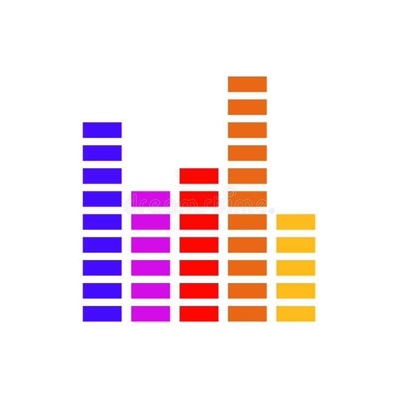 Stång för stämma för våg för solid volym för illustration för frekvensutjämnarevektor ljudsignal för din webbplatsdesign, logo, a royaltyfri illustrationer