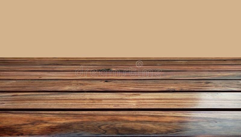 Stång för trätabellöverkant med suddighetsbakgrund En lantlig träsuddighetsbakgrund royaltyfri foto