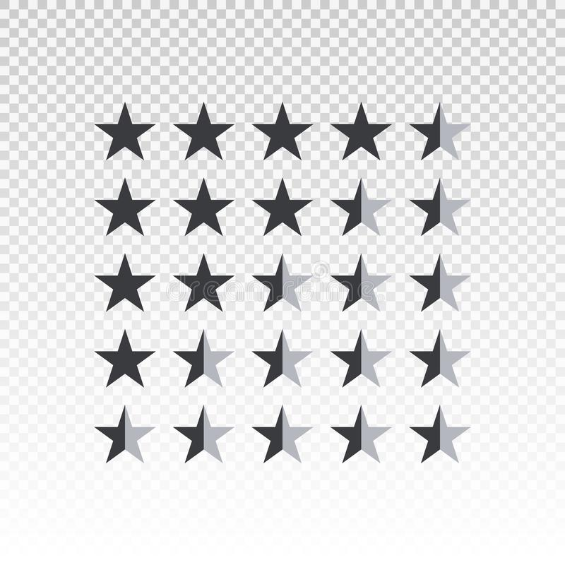 Stång för värdering för vektorformstjärna som isoleras på genomskinlig bakgrund Beståndsdel för design din website eller app royaltyfri illustrationer