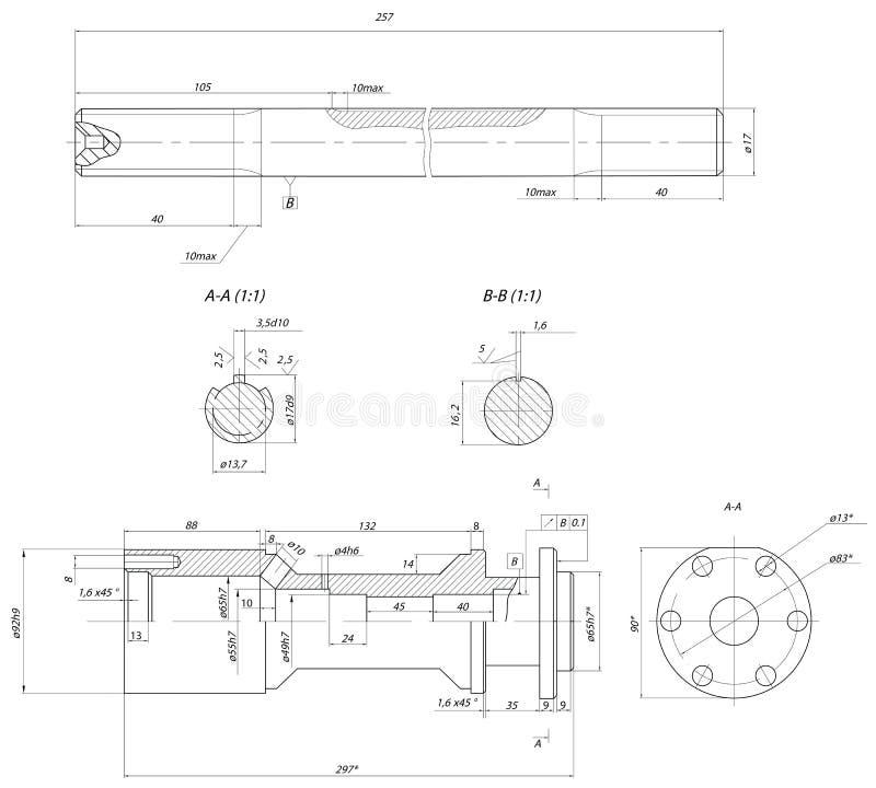 Stång förskjutningspump stock illustrationer