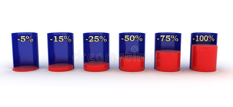 Stång graph blå red negativt intresse stock illustrationer