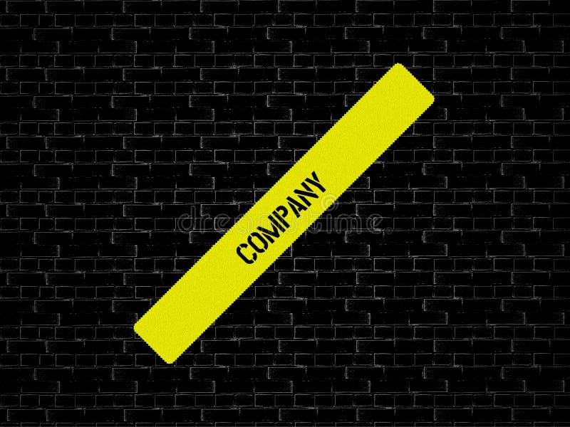 Stång i guling ordet FÖRETAG visas Bakgrunden är svart med tegelplattor arkivfoto