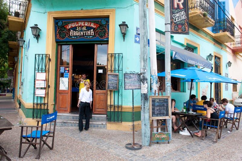 Stång restaurang, tangoklubba i La Boca, Buenos Aires, Argentina arkivfoton