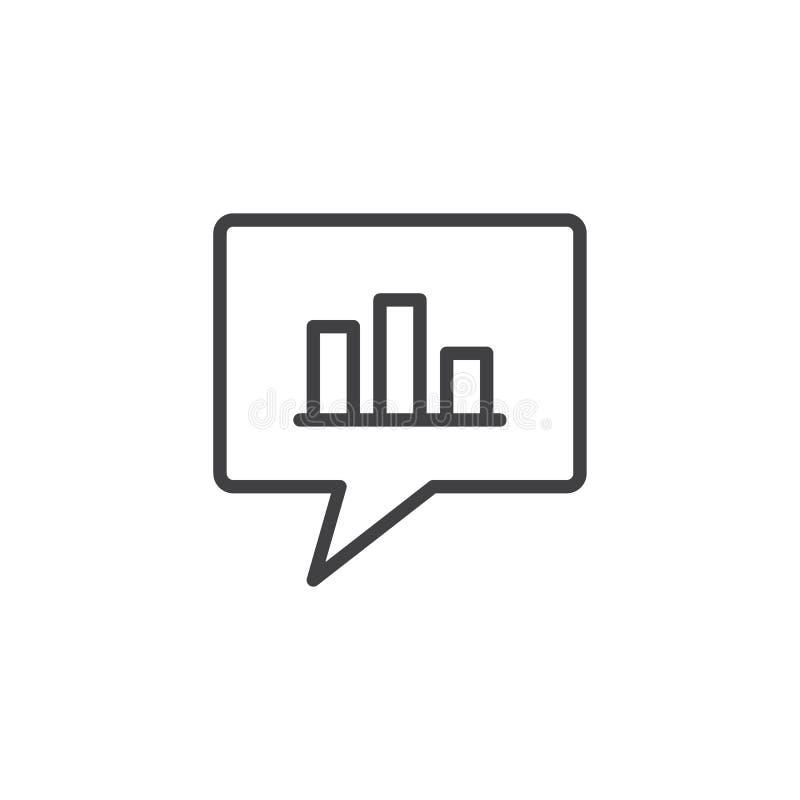 Stångdiagram i symbol för pratstundbubblaöversikt stock illustrationer
