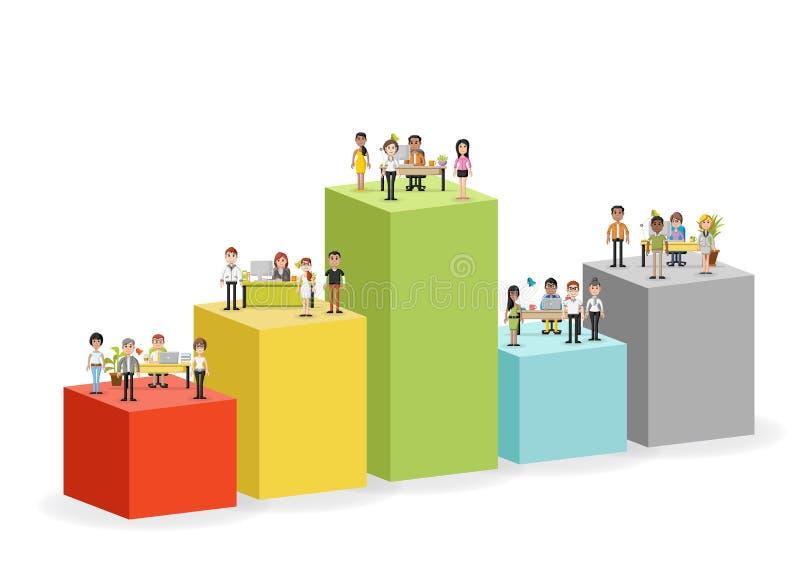 Stångdiagram med att arbeta för affärsfolk stock illustrationer