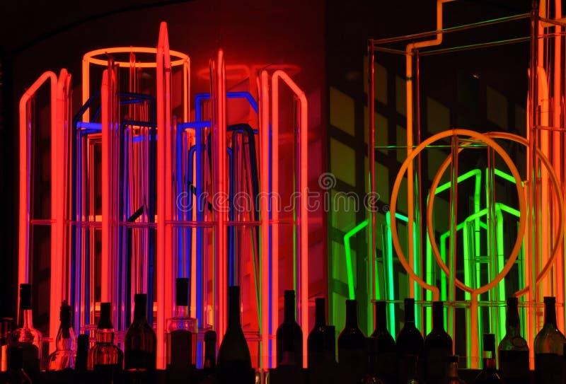 stången tänder neon arkivbild