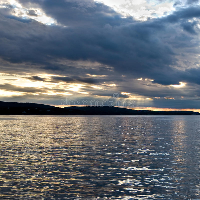 stånghamnmaine solnedgång royaltyfria foton