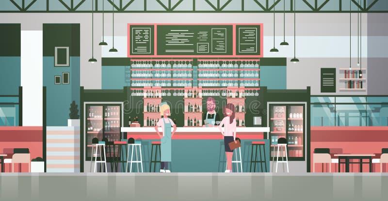 Stångmaterialbartender, uppassare And Administrator Standing på räknaren över flaskor av alkohol och exponeringsglas på bakgrund royaltyfri illustrationer