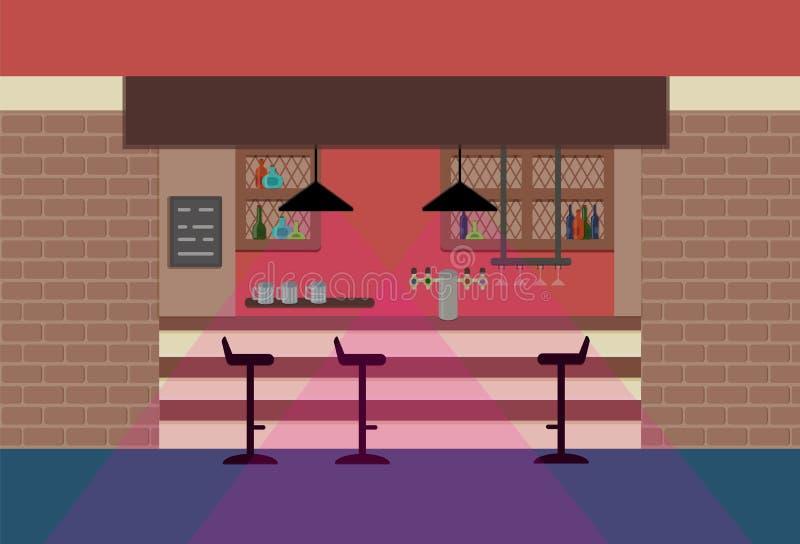 Stångräknare i bar Plan illustration för vektor färgrikt 10 eps vektor illustrationer