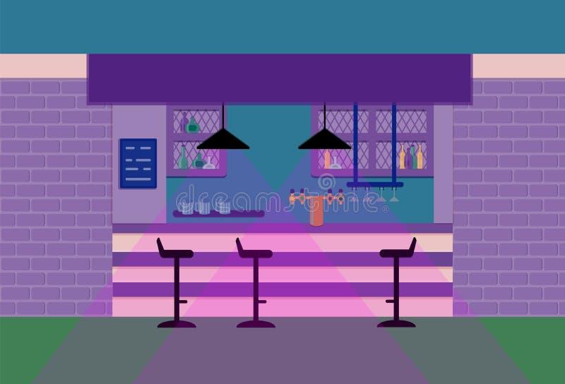 Stångräknare i bar Plan illustration för vektor Violett signal vektor illustrationer