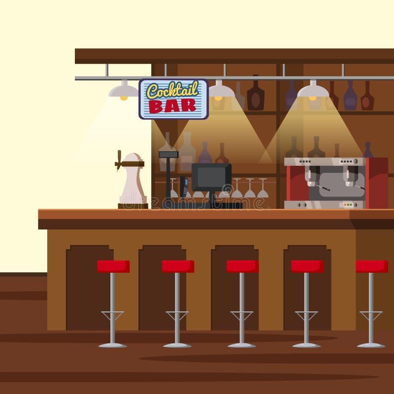 Stångräknare Pump för barölklapp, stolar, hyllor med alkoholflaskor Bar med ölglassesCartoonvektorn royaltyfri illustrationer