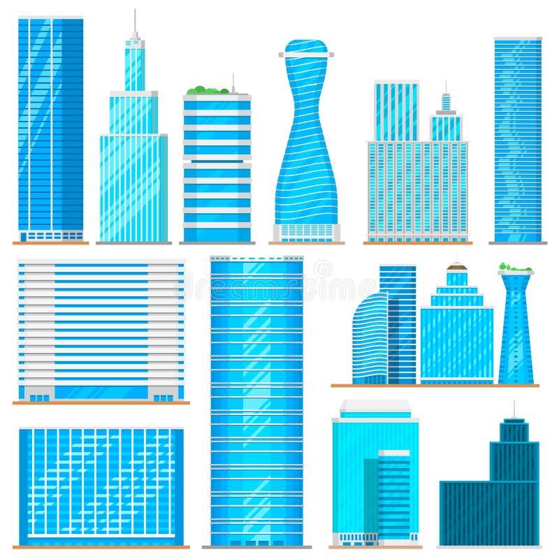 Står högt höga byggnader för skyskrapa kontoret, illustration för vektor för lägenhet för näringslivsutveckling för stadsarkitekt royaltyfri illustrationer