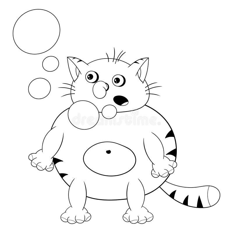 Står låter den röda katten för den roliga tecknade filmen, hickningar och bubblor ut ur hans mun Rolig färgläggning i stilen av k vektor illustrationer