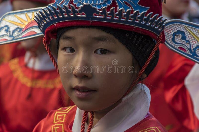 Ståta av beröm av det kinesiska nya året, året av hunden arkivfoto