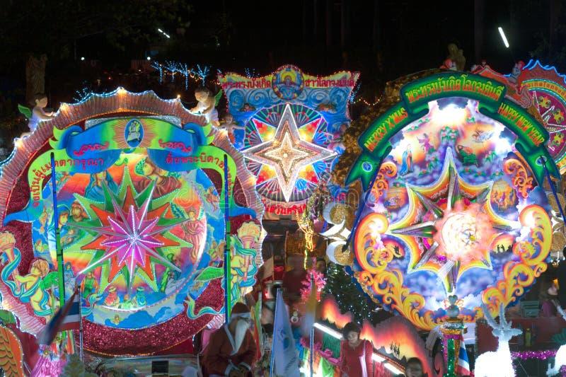 Ståta av julstjärnafestival i Sakon Nakhon, Thailand fotografering för bildbyråer