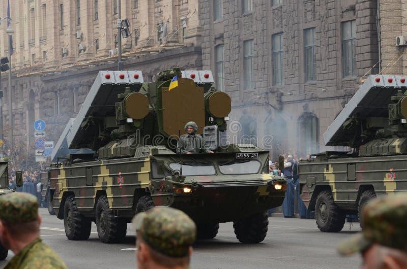 Ståta i Kiev på dagen av självständighet av Ukraina på Augusti 24, 2016 royaltyfri fotografi