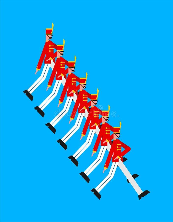 ståta soldater Militär ferie Marschera för gardist stock illustrationer