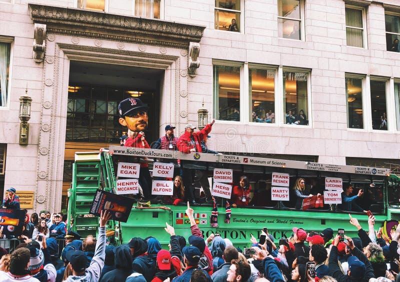 Ståtar Red Sox världsmästare 2018 i Boston arkivfoton