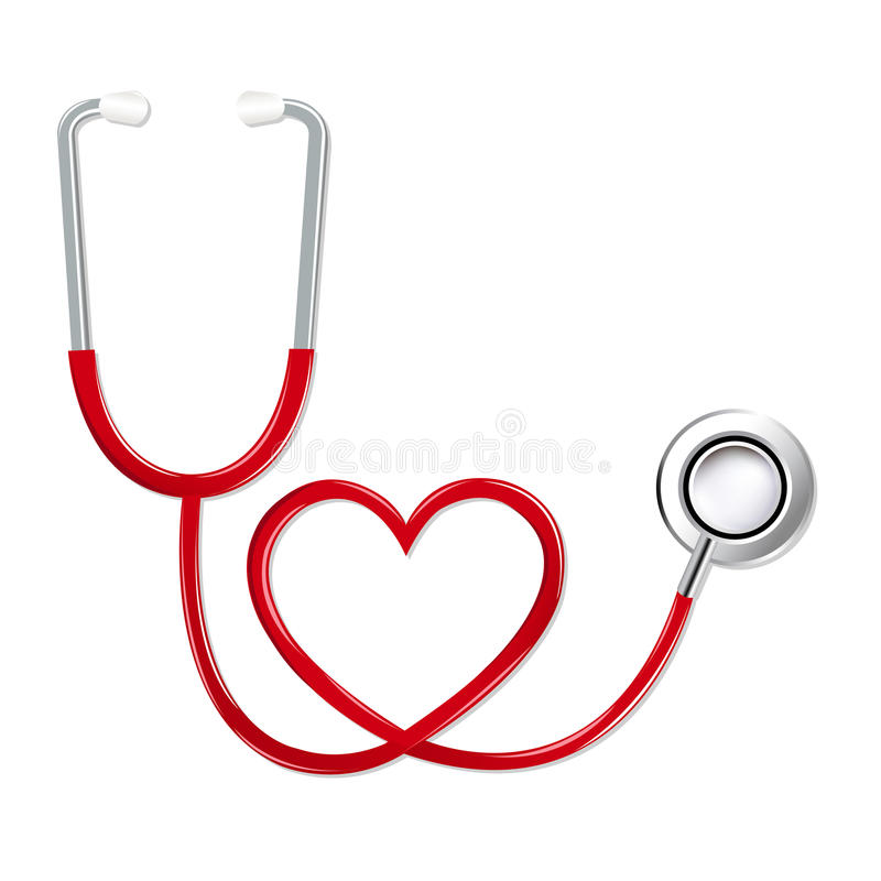 Stéthoscope dans la forme du coeur illustration de vecteur