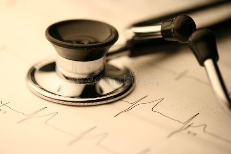 Stéthoscope et EKG photo stock