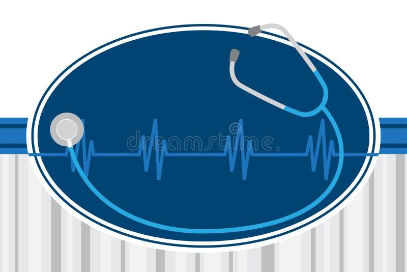 Stéthoscope et illustration de concept de soins de santé de Hearbeat illustration libre de droits