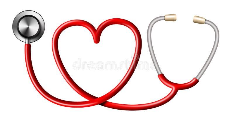 Stéthoscope rouge dans la forme du coeur sur le blanc illustration libre de droits