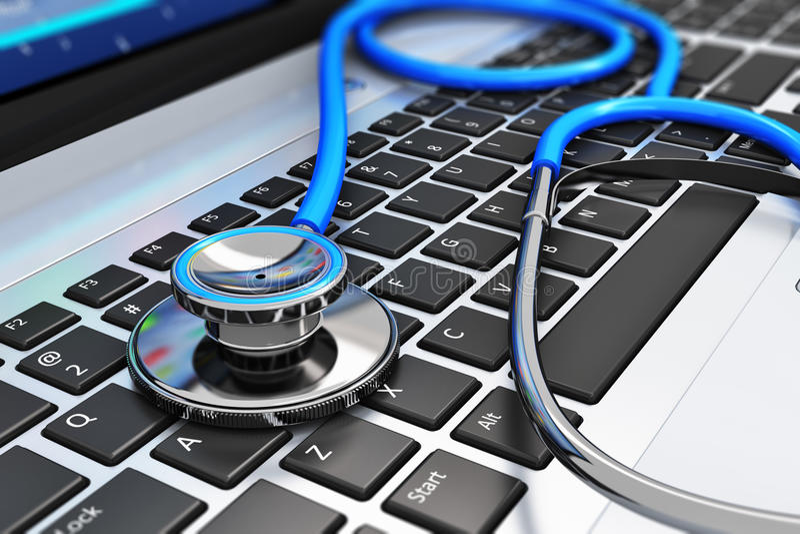 Stéthoscope sur le clavier d'ordinateur portable illustration stock
