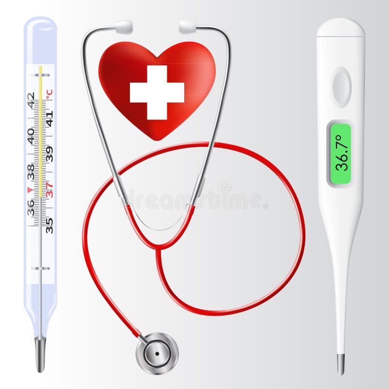 Stéthoscope, thermomètre à mercure, thermomètre numérique illustration stock
