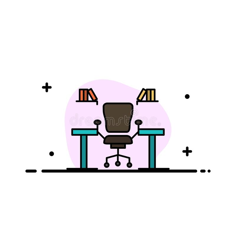 Stół, biznes, krzesło, komputer, biurko, biuro, miejsce pracy mieszkania ikony sztandaru Biznesowa linia Wypełniający Wektorowy s royalty ilustracja