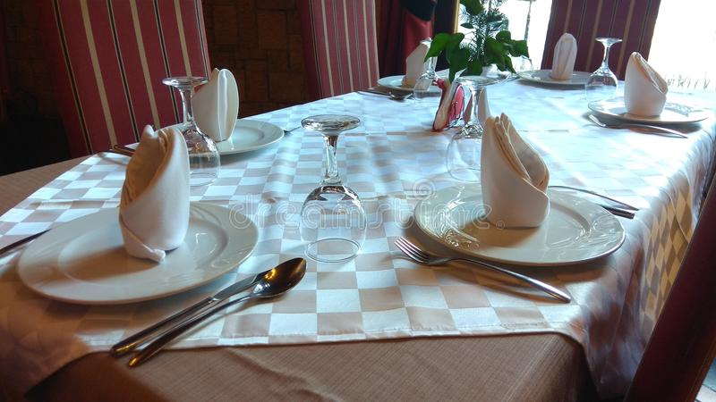 stół dla sześć gości restauracji zdjęcie stock