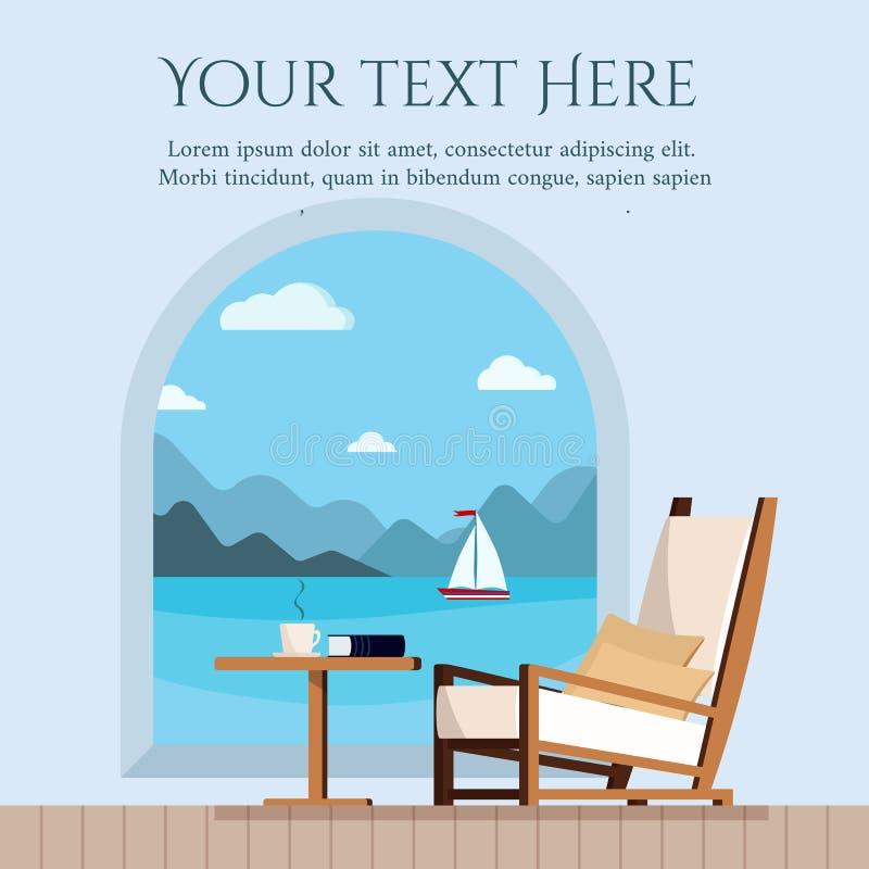 Stół, filiżanka herbata, kawy krzesło na balkonie lub książka taras i lub morze żaglówką i krajobrazem z okno z royalty ilustracja
