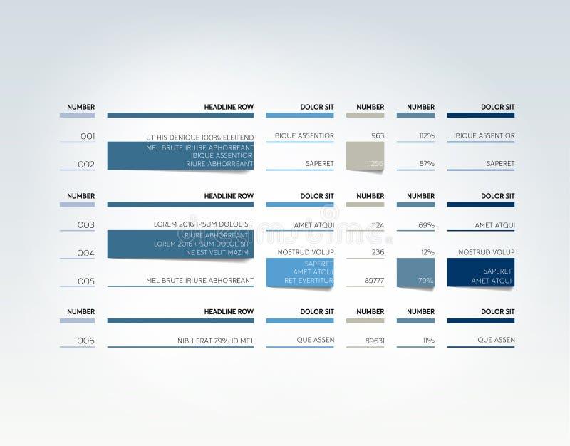 Stół, rozkład, zakładka, planista, infographic projekta szablon ilustracja wektor