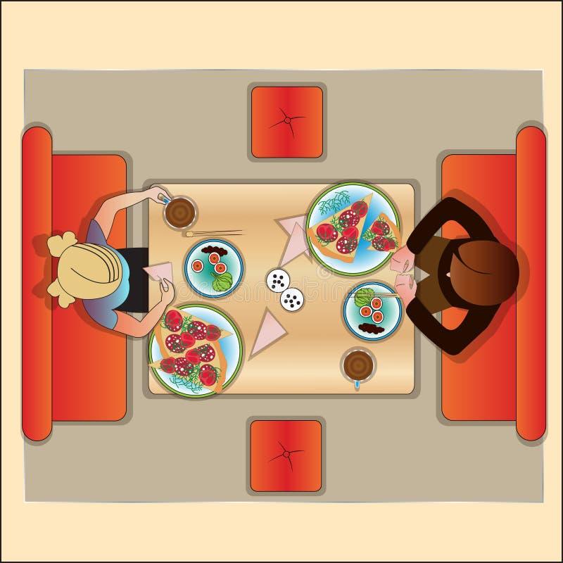 Stół w kawiarni dla dwa odgórny widok ilustracji