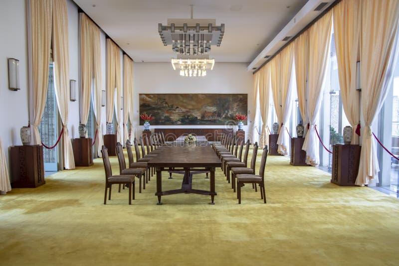Stół w stanu bankiecie Hall ponowne zjednoczenie pałac w Ho Chi Minh mieście Wietnam lub Saigon obrazy royalty free