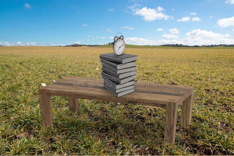Stół z książkami i budzikiem w polu royalty ilustracja